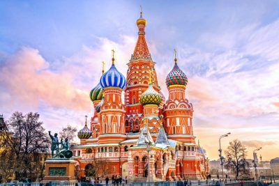 53568286 - saint basil's cathedral in red square in winter at sunset, moscow, russia.